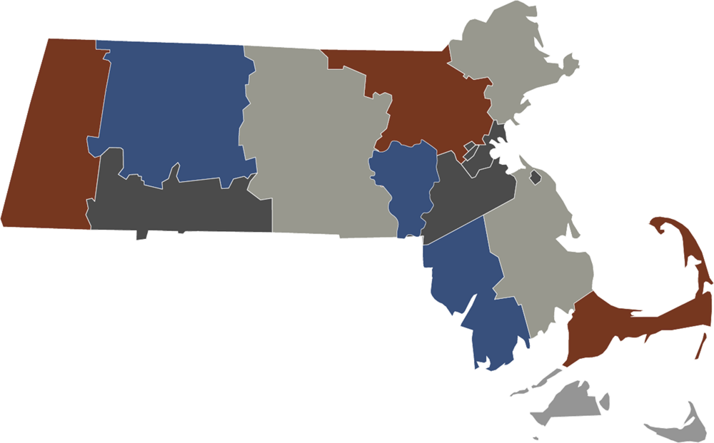 Map of Massachusetts with Counties - Single Color by FreeVectorMaps.com